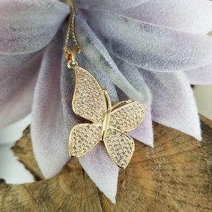 """Butterfly Necklace 18k Gold Layered 18"""""""
